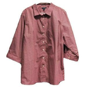 Lands End Women Button Pink Abstract Blouse 24W